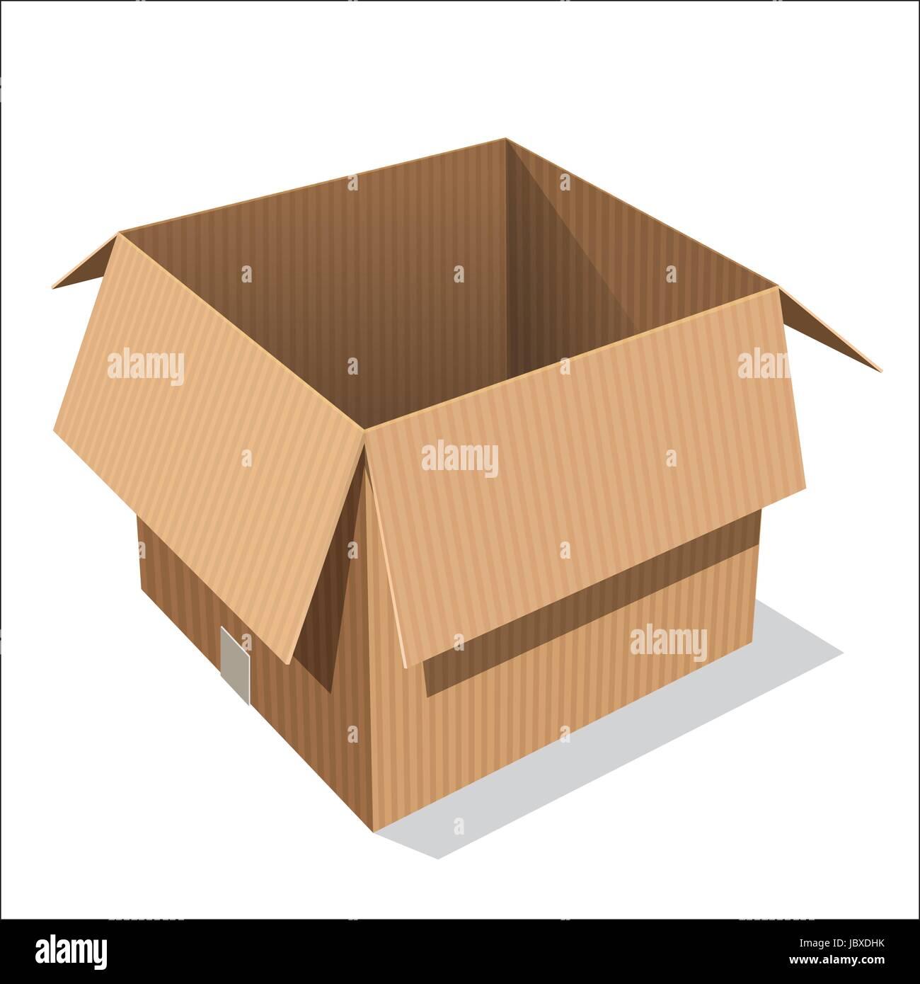 Isolated Open cardboard box, opened emty box on white background - Vector Illustration. - Stock Image