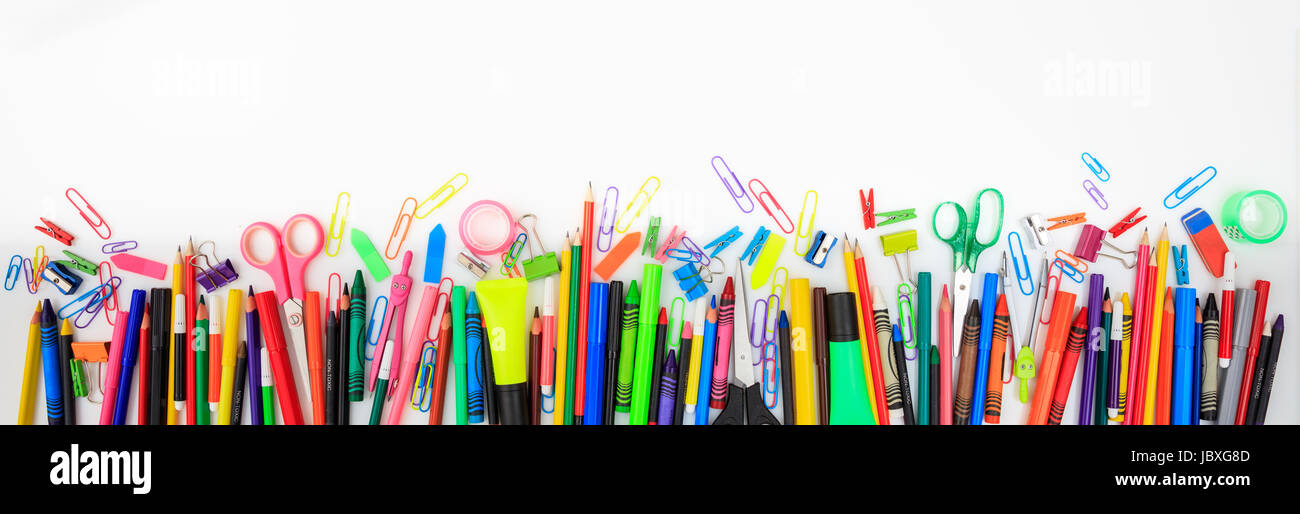 School supplies on white background - copy space Stock Photo