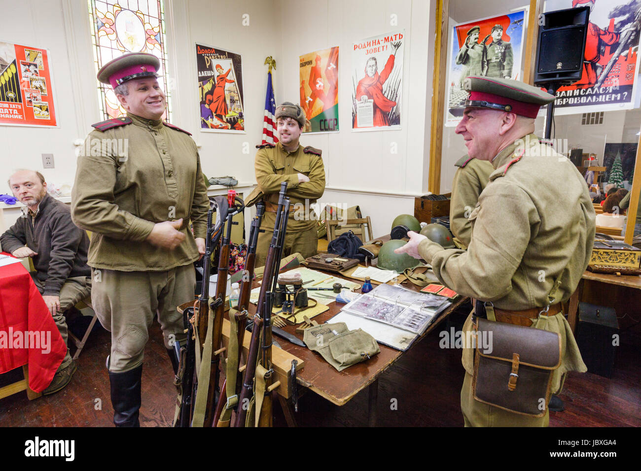TROY, NEW YORK/USA - FEB 25 2017: Men dress as soldiers at annual Russian Festival - Stock Image