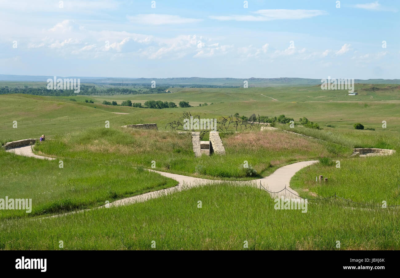 View from Last Stand Hill of the Indian Memorial, Little Bighorn Battlefield National Monument, Crow Agency, Montana, USA Stock Photo