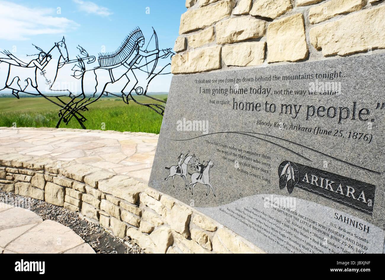 Bronze tracing sculptures of warriors, Indian Memorial, Little Bighorn Battlefield National Monument, Crow Agency, Montana, USA. Stock Photo