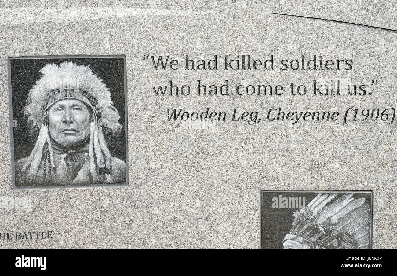 Inscriptions on marble at the Indian Memorial, Little Bighorn Battlefield National Monument, Crow Agency, Montana. Stock Photo