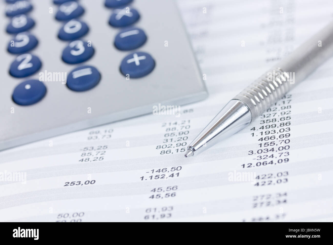 calculator and columns of figures Stock Photo