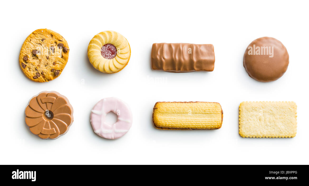 Various sweet biscuit isolated on white background. - Stock Image