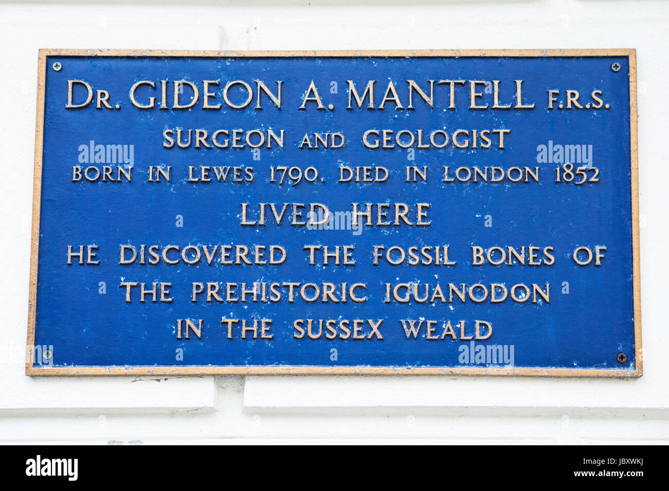 LEWES, UK - MAY 31ST 2017: A plaque marking the location where Dr. Gideon A. Mantell lived in Lewes, East Sussex, - Stock Image