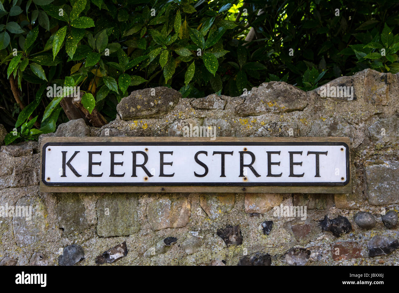 A street sign for Keere Street in the historic town of Lewes in East Sussex, UK. Stock Photo