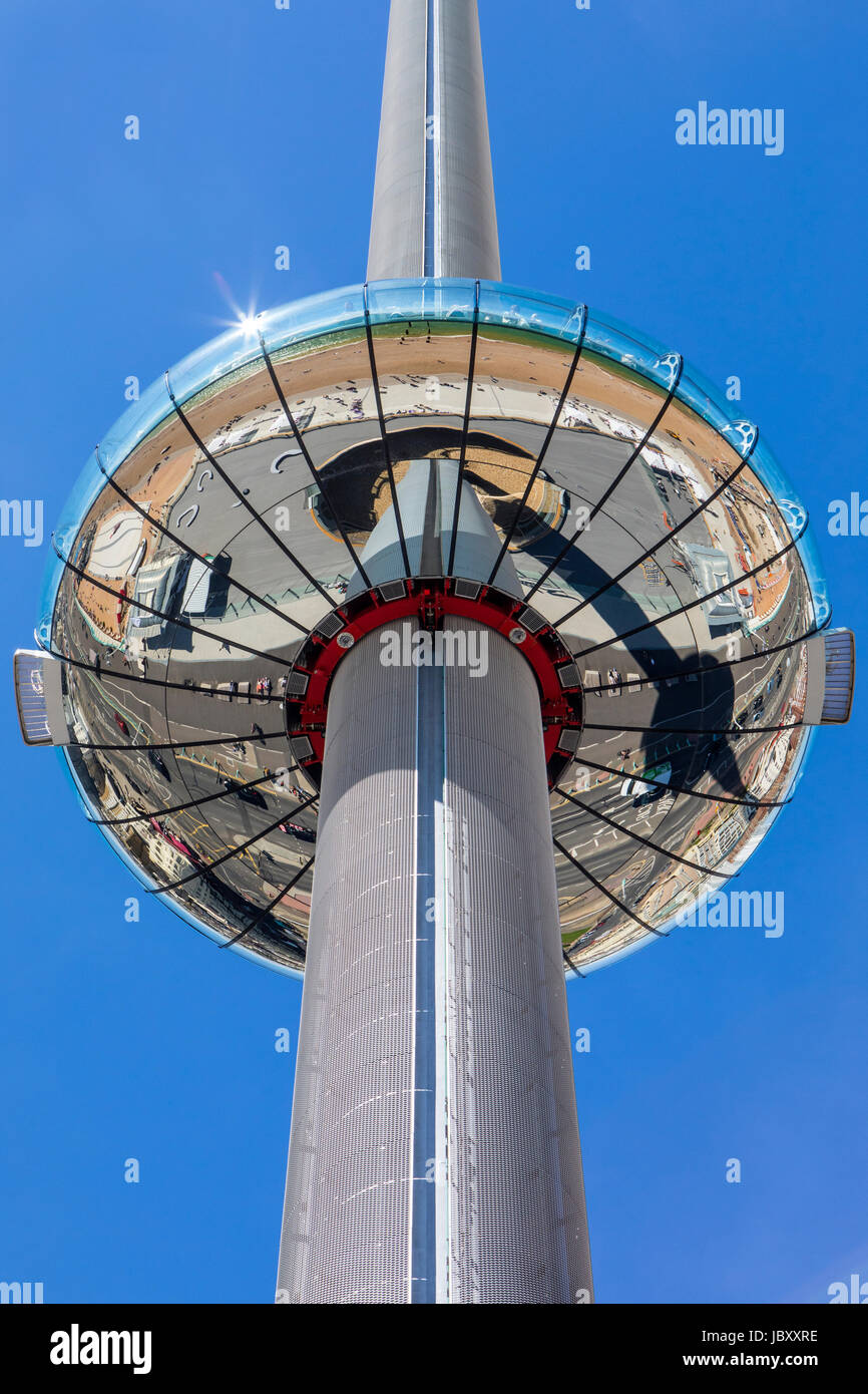 BRIGHTON, UK - MAY 31ST 2017: The impressive British Airways i360 observation tower located on Brighton seafront - Stock Image