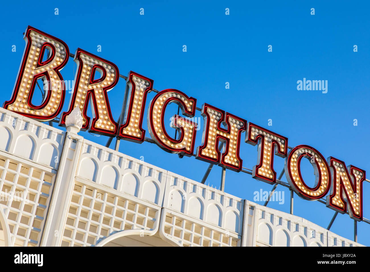 BRIGHTON, UK - MAY 31ST 2017: Brighton in lights on the historic Brighton Pier in East Sussex, UK, on 31st May 2017. - Stock Image