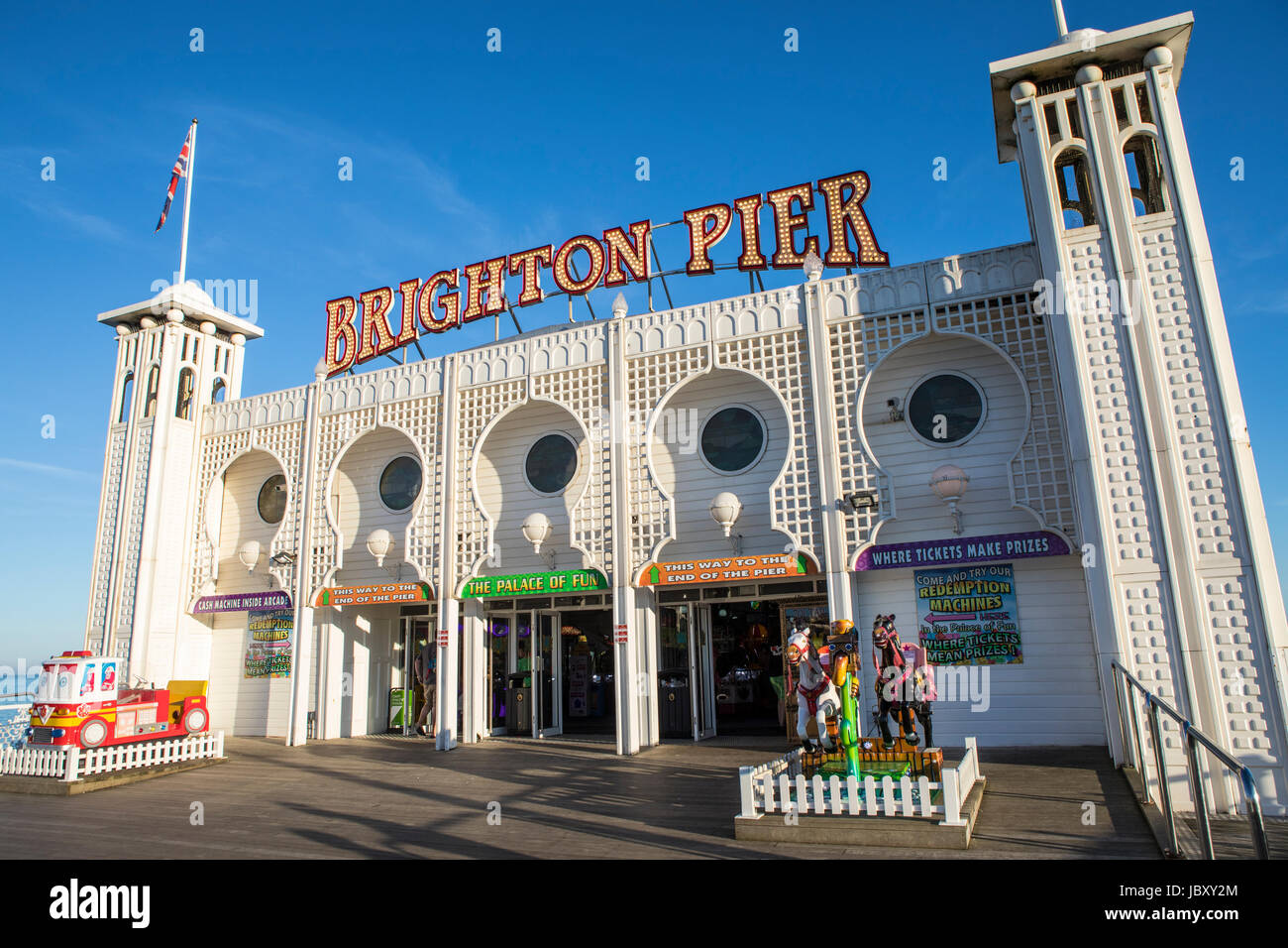 BRIGHTON, UK - MAY 31ST 2017: A view of the main building housing amusements on the historic Brighton Pier in Brighton, - Stock Image