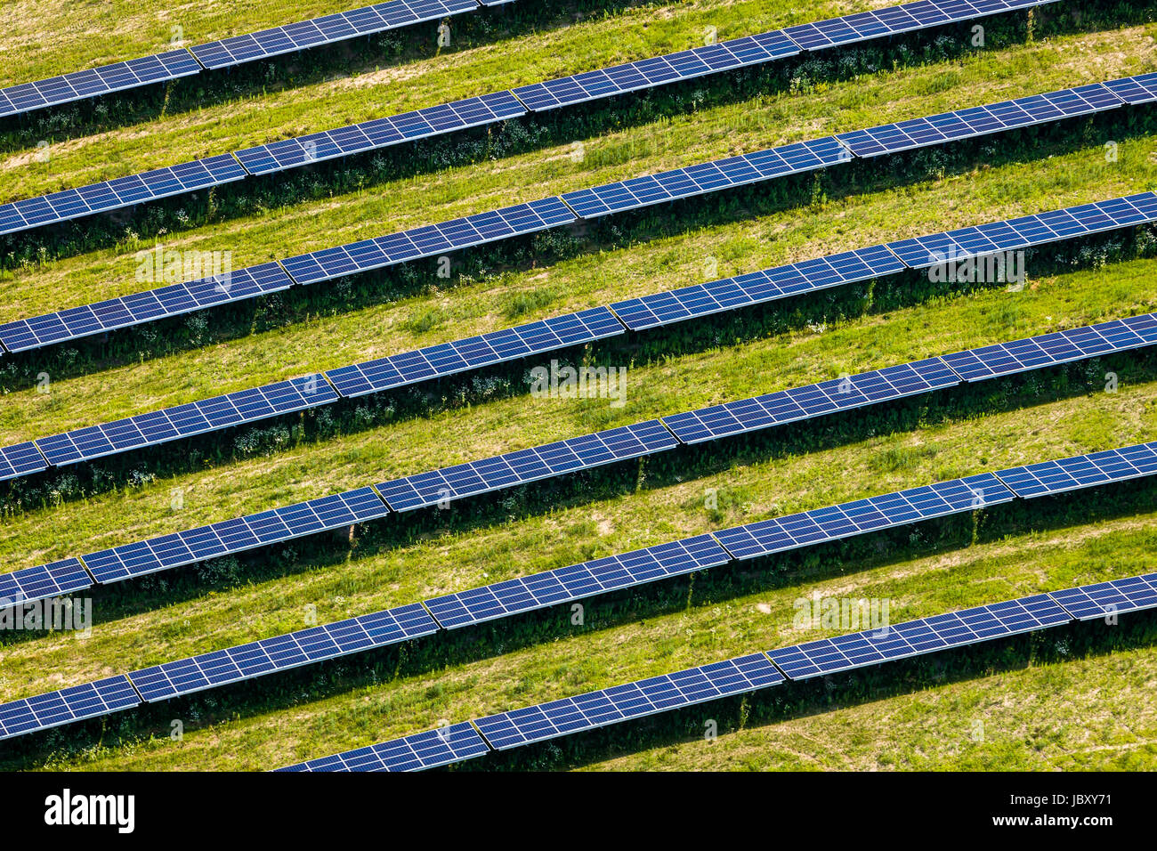 Aerial view of a Solar Farm. - Stock Image