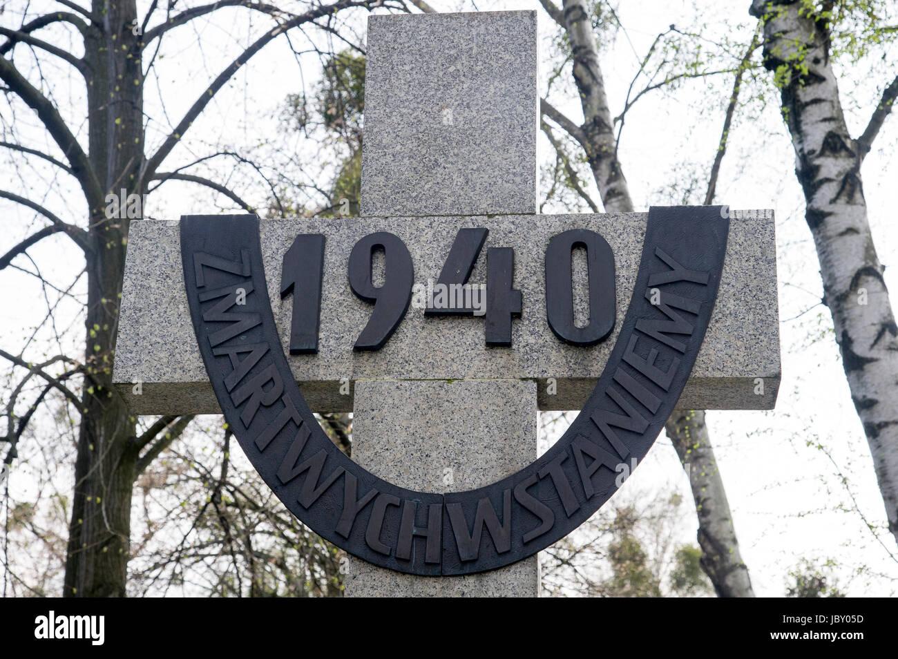 Monument dedicated to the victims of the Katyn Massacre in 1940.  Powazki Military Cemetery (Cmentarz Wojskowy na Powazkach) in Warsaw, Poland 5 April Stock Photo