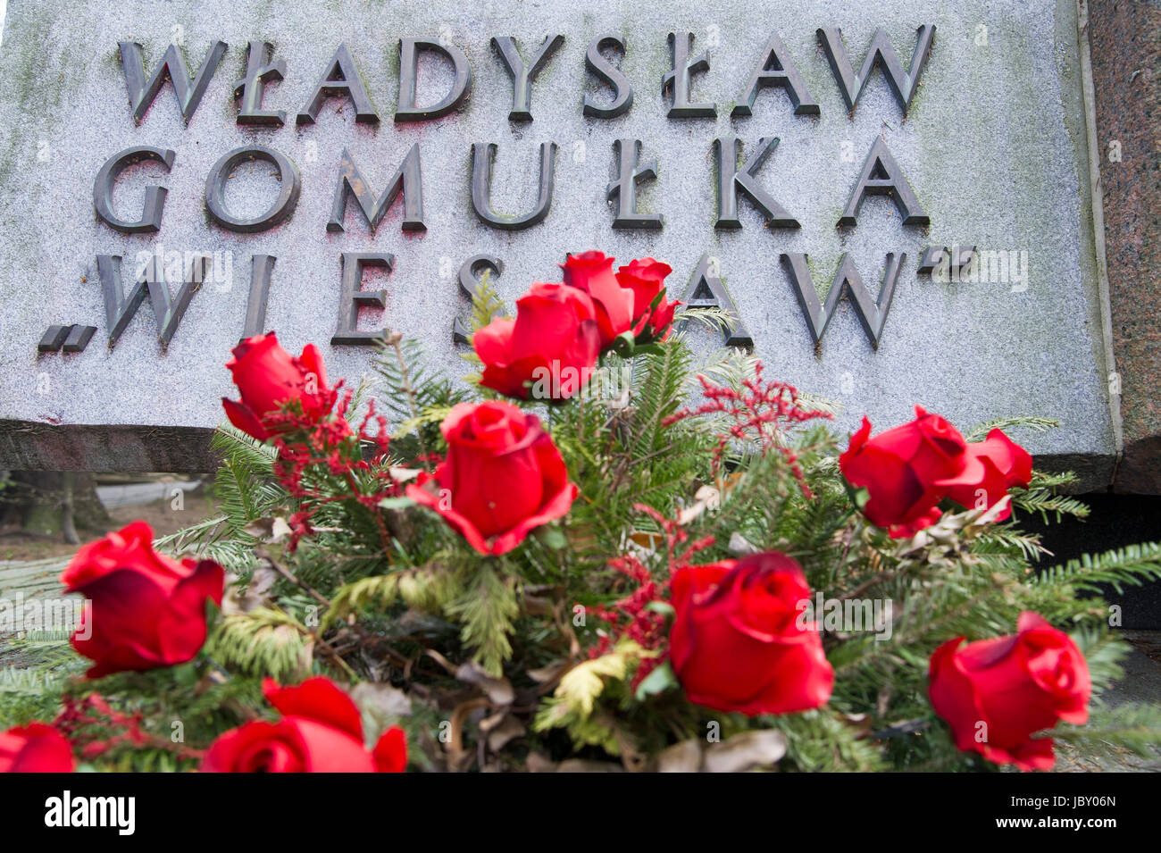 Tomb of Wladyslaw Gomulka, Polish Communist and leader of People`s Republic of Poland. Powazki Military Cemetery - Stock Image
