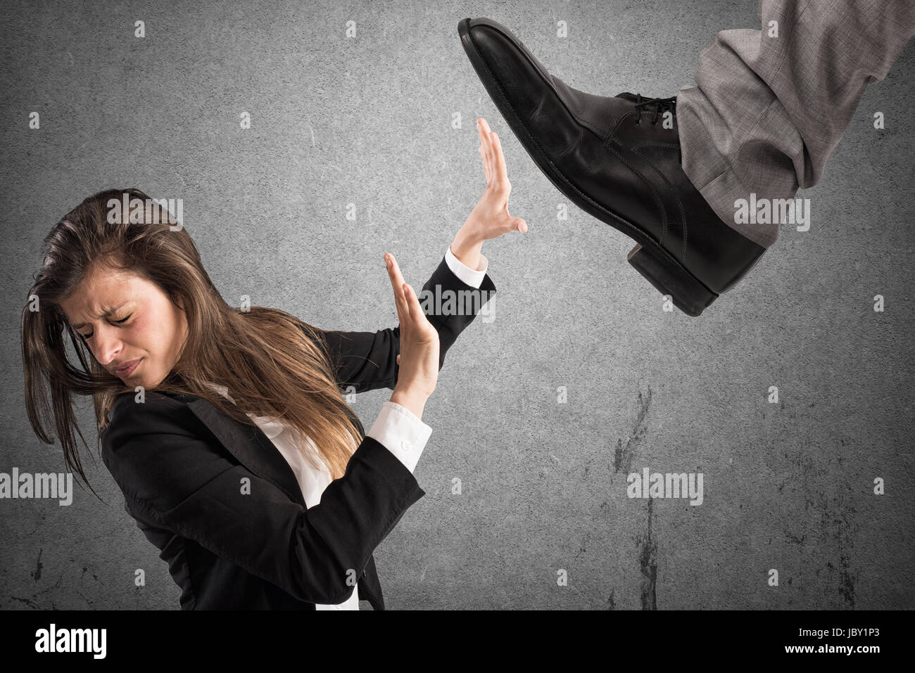 Aggressive boss .Mobbing concept - Stock Image