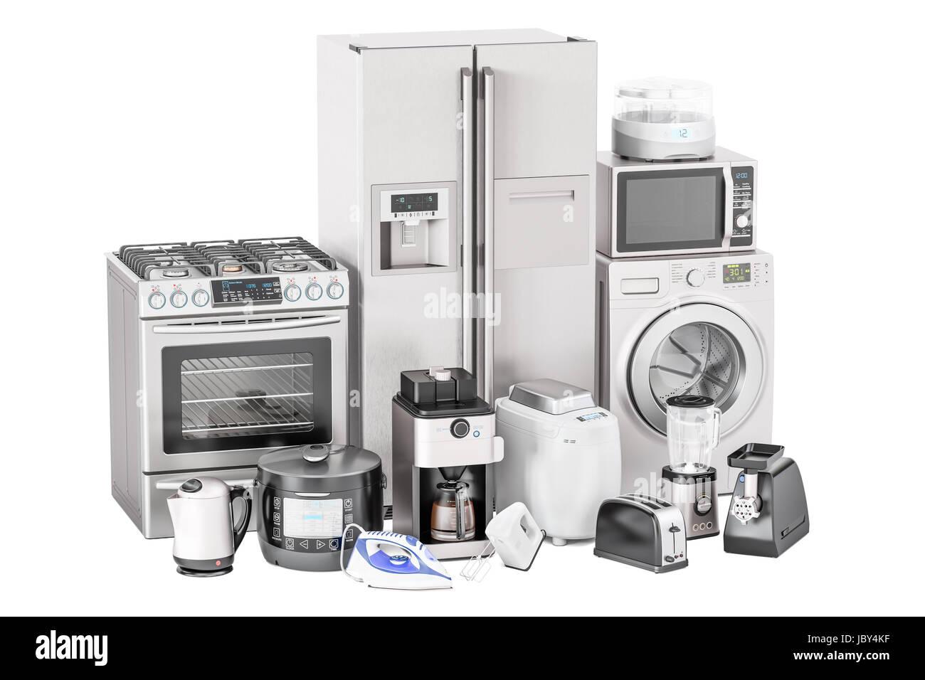 Set of kitchen home appliances. Toaster, washing machine, fridge ...