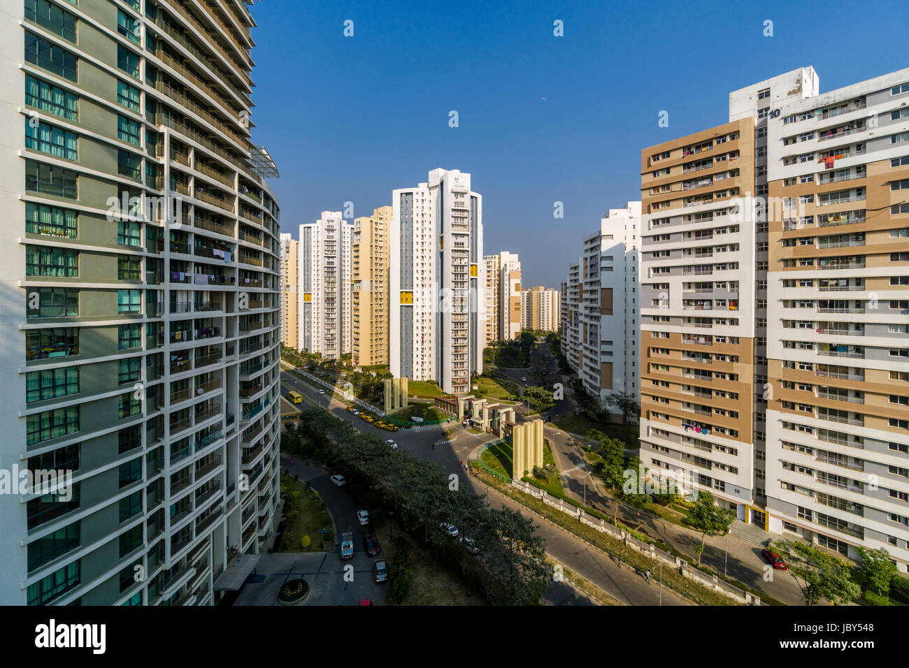 Aerial view on buildings of the modern suburb New Town - Stock Image