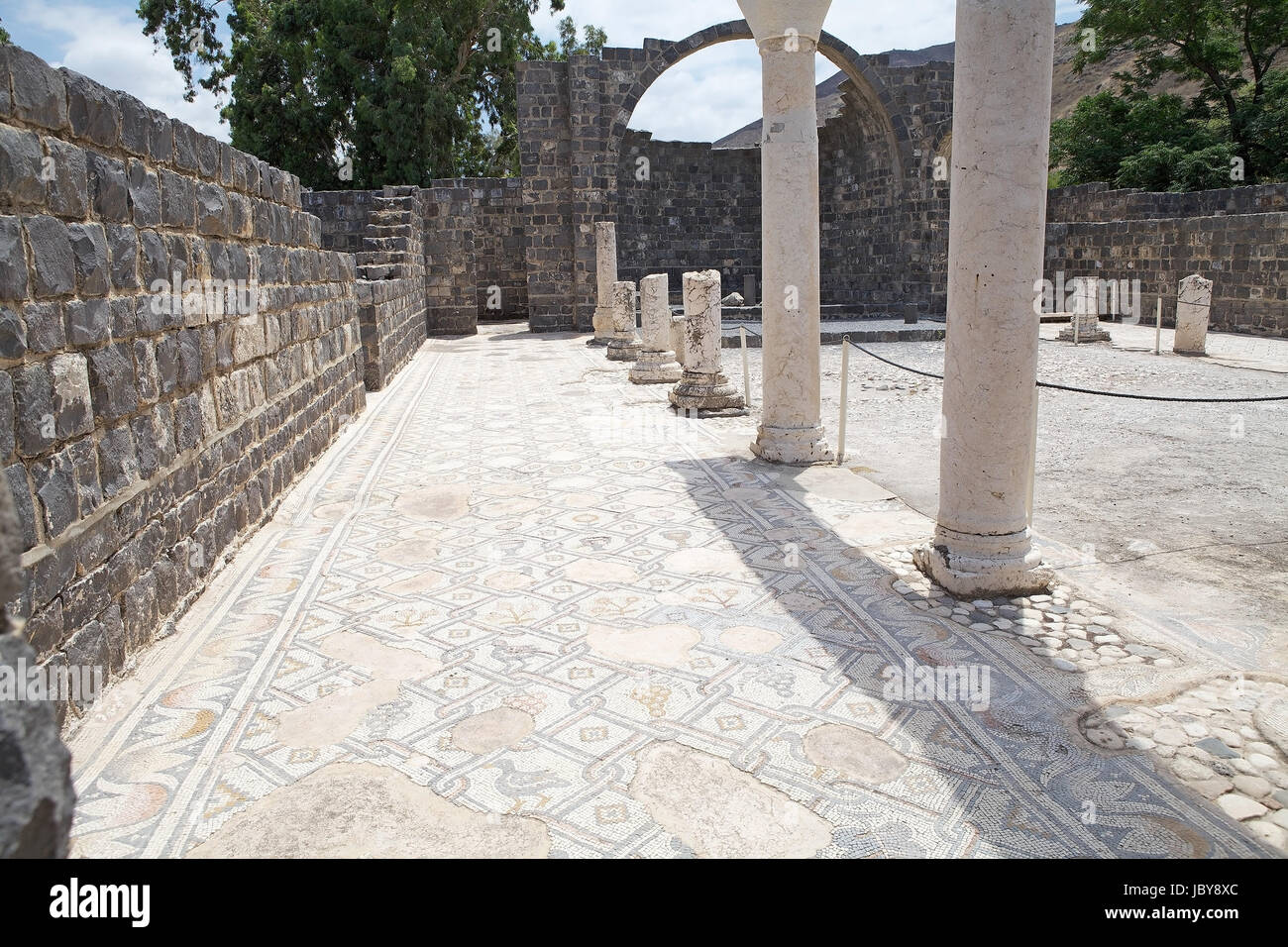 The ruins of the ancient church at the Kursi National Park, Israel. Kursi, in the Christian tradition, is identified - Stock Image