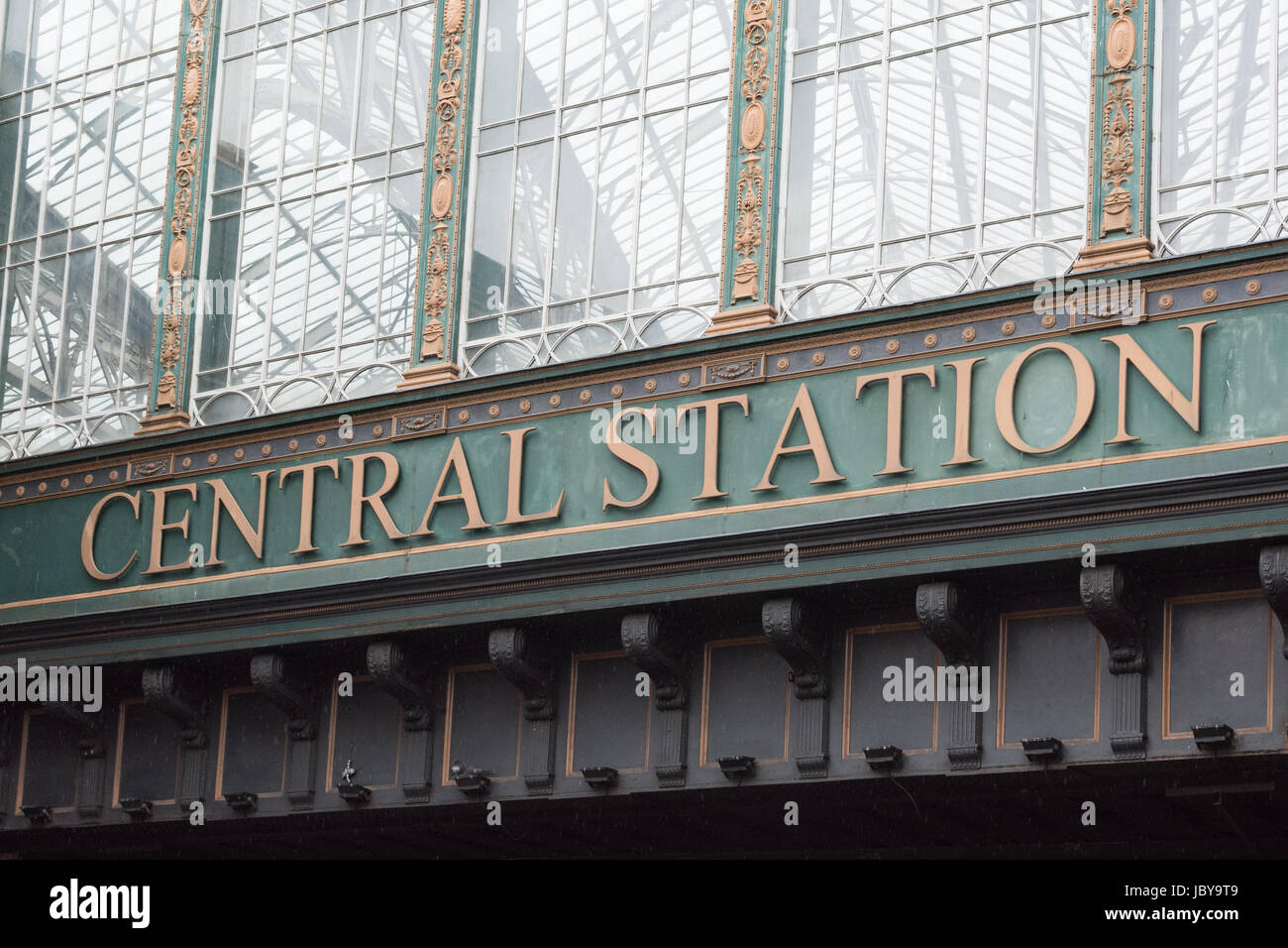 Central Station sign, Glasgow Central Station, Glasgow, Scotland, UK - Stock Image
