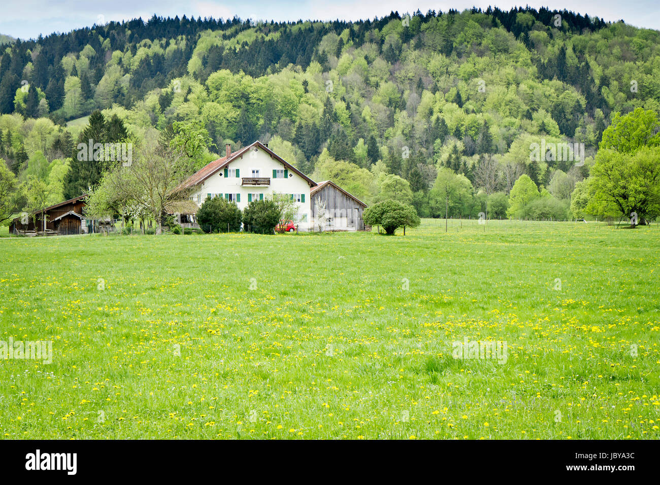 An image of a house in the green nature - Stock Image