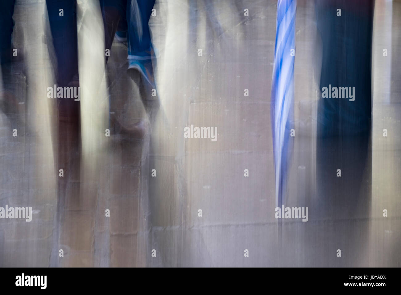 ICM, Intentional Camera Movement of shoppers in a busy town. - Stock Image