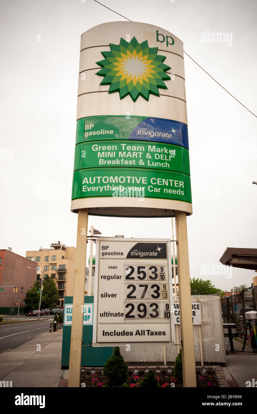 A BP gas station in the Greenpoint neighborhood of Brooklyn in New York on Sunday, June 4, 2017. Drivers have been Stock Photo