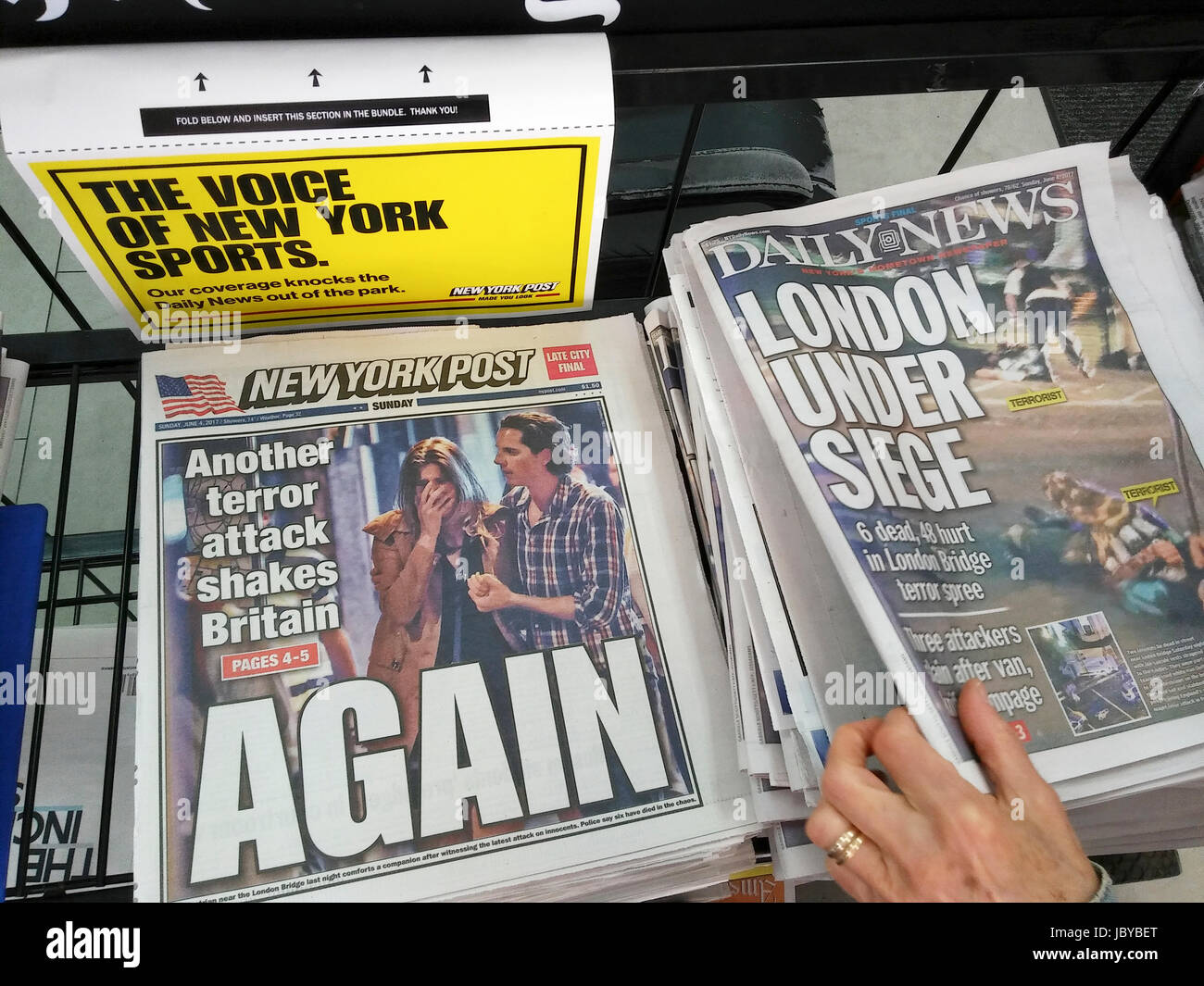 New York tabloid newspapers on Sunday, June 4, 2017 report on the previous night's terrorist attack in London, UK Stock Photo
