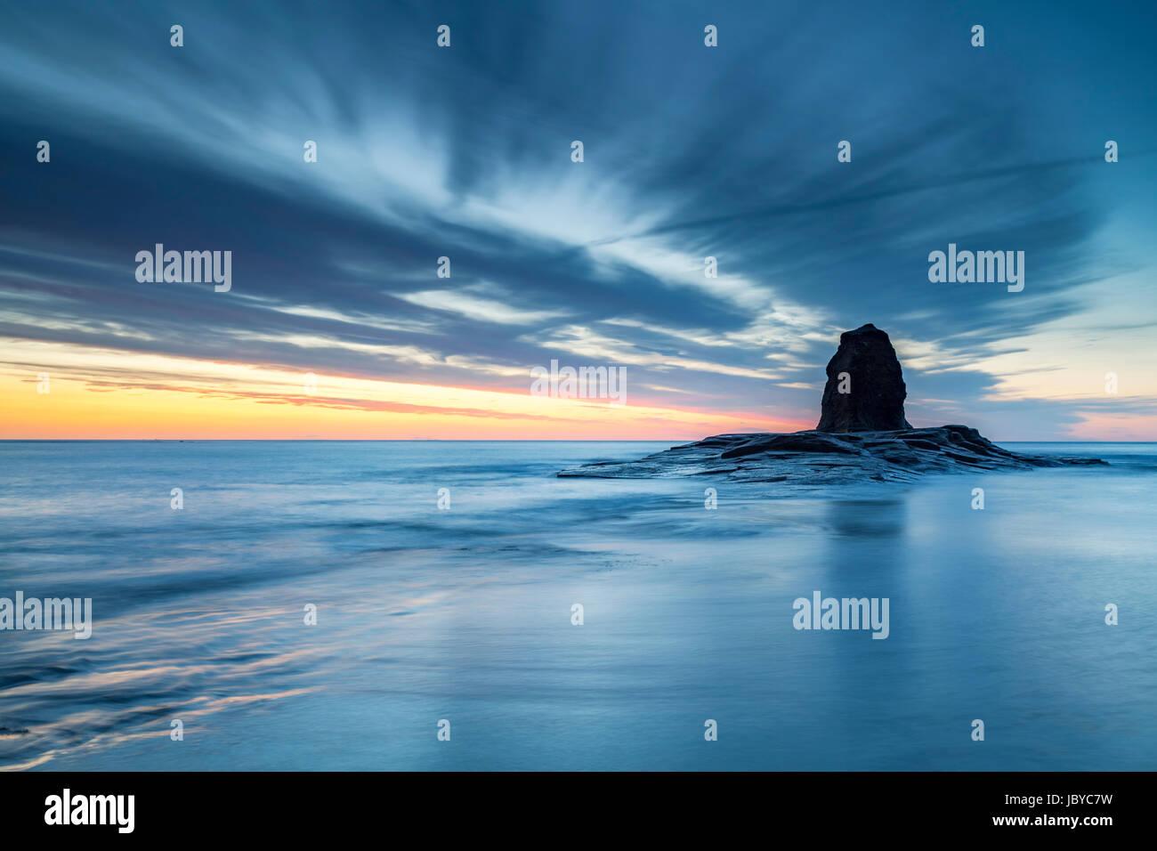 Black Nab stack at Saltwick Bay, near Whitby on the North Yorkshire Coast - Stock Image