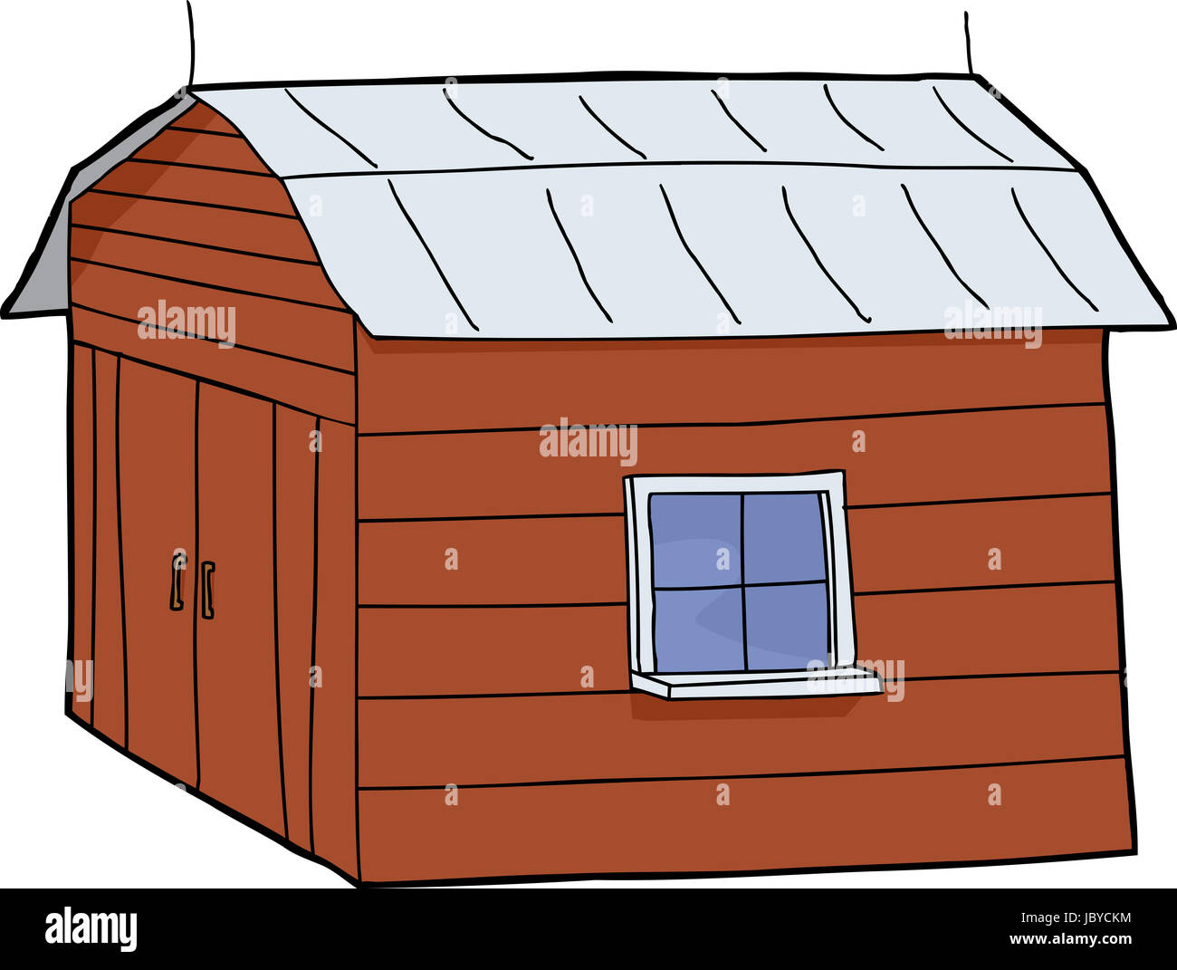 Cartoon red barn with closed doors and tin roof Stock Photo