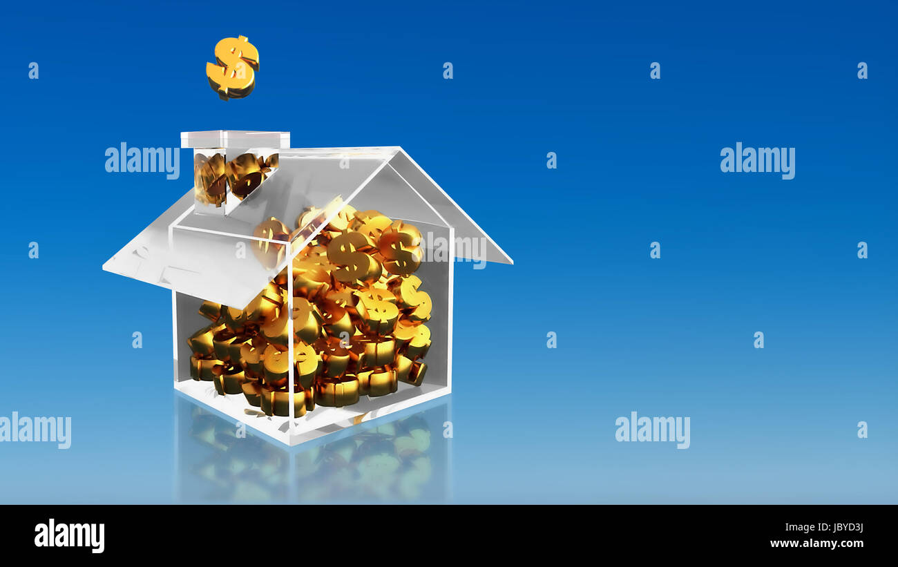 The 3D render image of investment saving dollar house with blue sky background - Stock Image