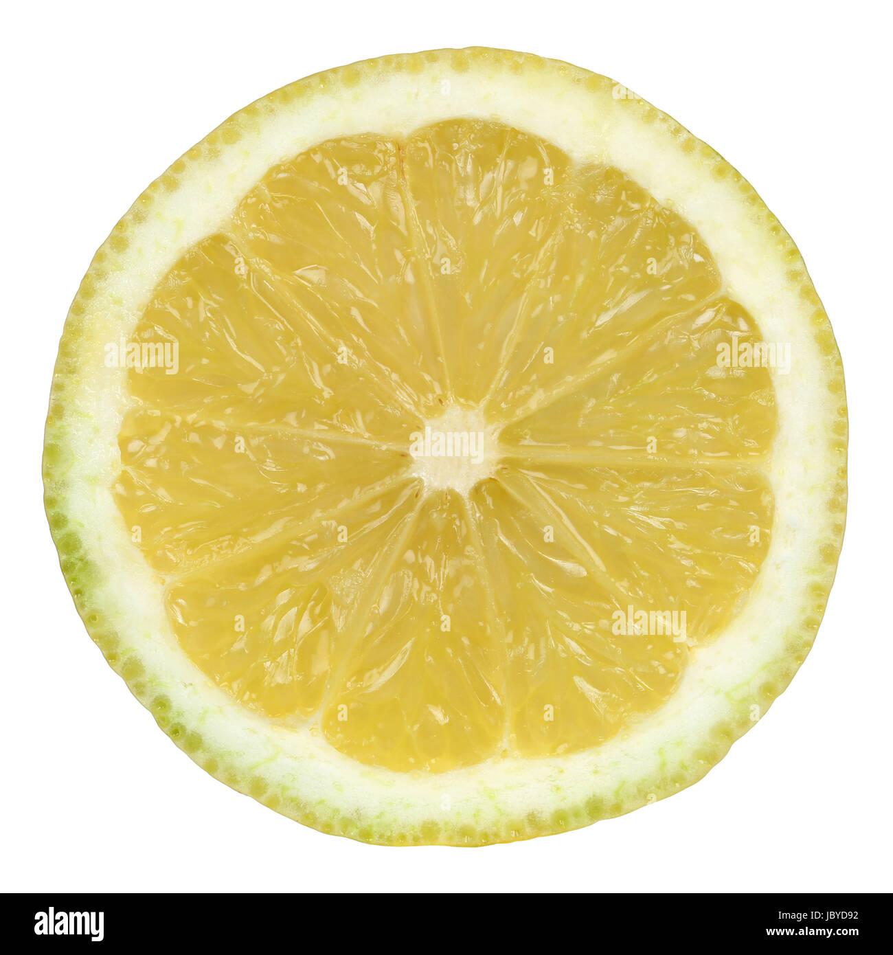 Durchgeschnittene Zitrone, isoliert vor einem weissen Hintergrund Stock Photo