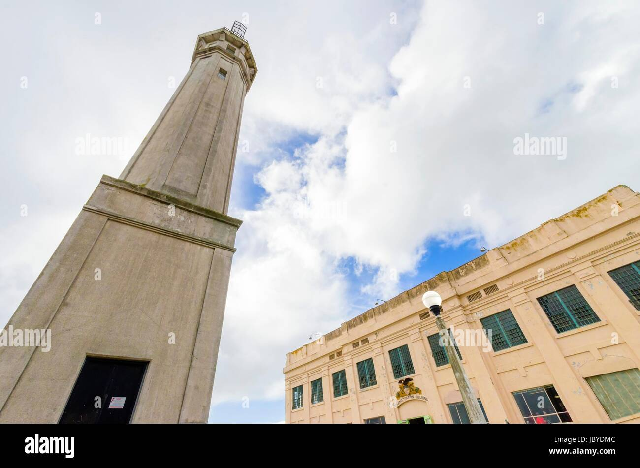 The Lighthouse at the entrance of the Administration Building on Alcatraz island prison, now a museum in San Francisco, - Stock Image