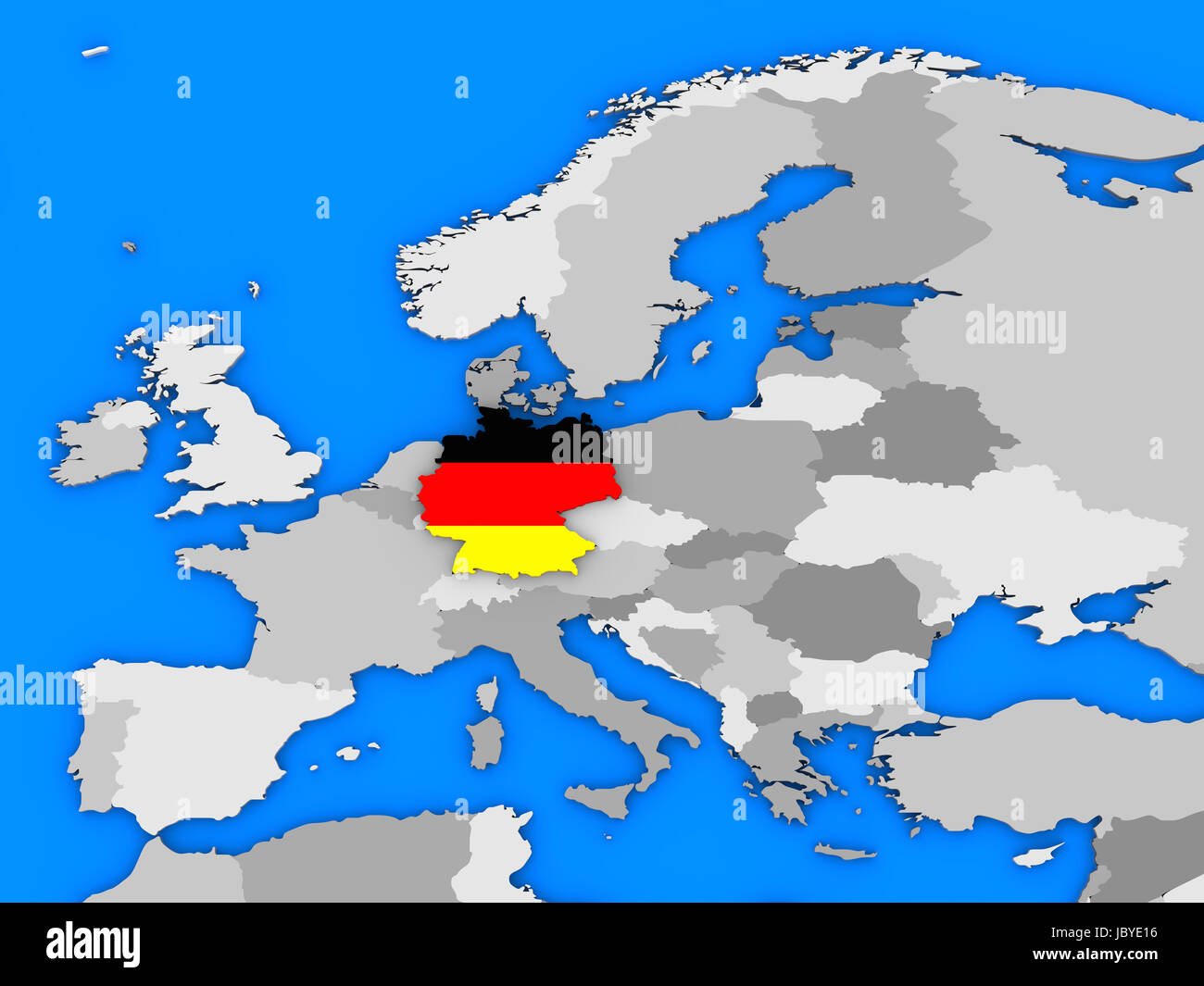 flag of germany in the shape of the country standing out of the map of europe
