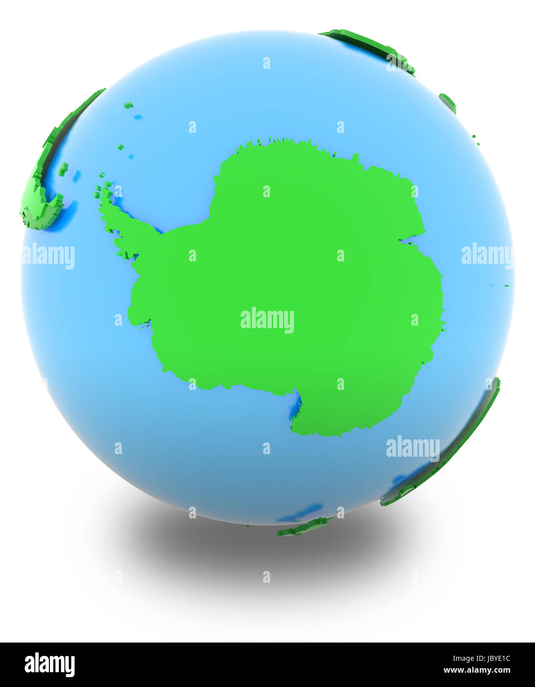 Antarctic Political Map Of The World In Various Shades Of Green