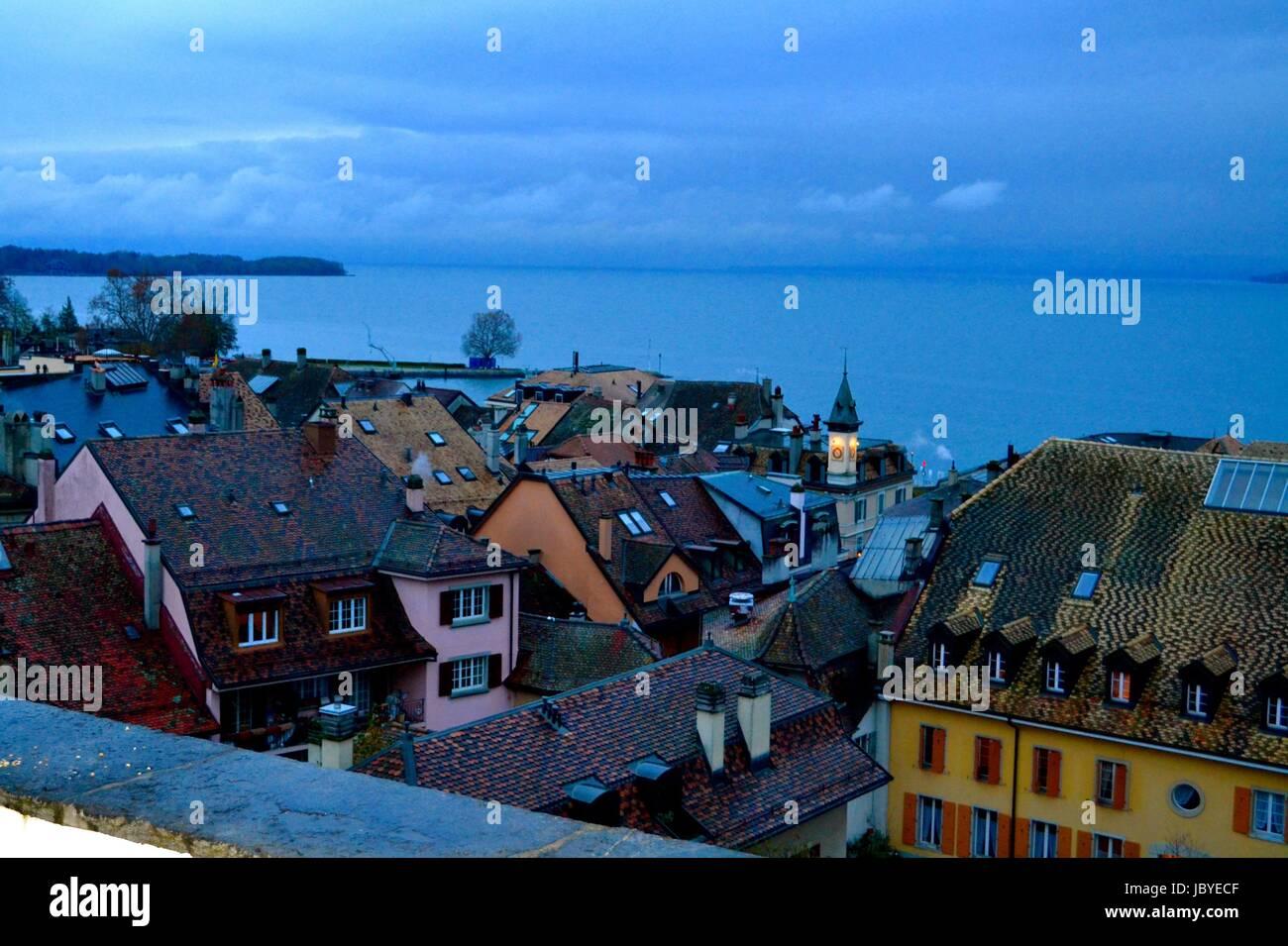 village on Lake Geneva, Switzerland - Stock Image