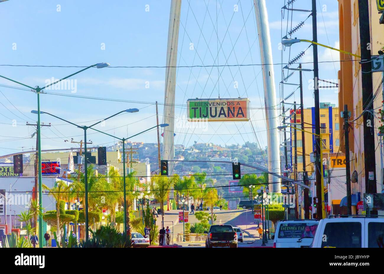 The Millennial Arch (Arco y Reloj Monumental), a metallic steel arch at the entrance of the city of Tijuana in Mexico, - Stock Image