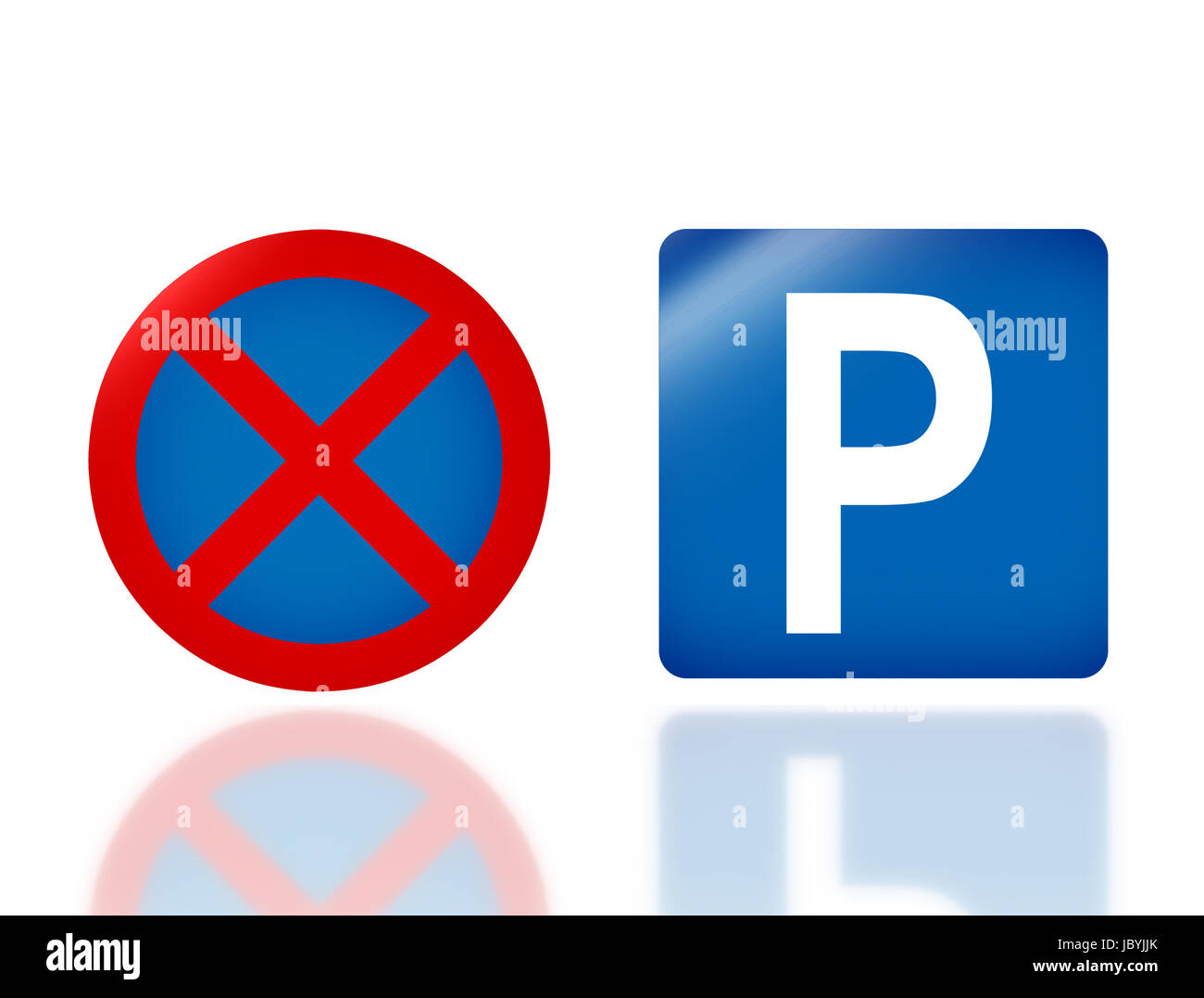 the notice of  no parking and parking traffic sign for transportation safety Stock Photo