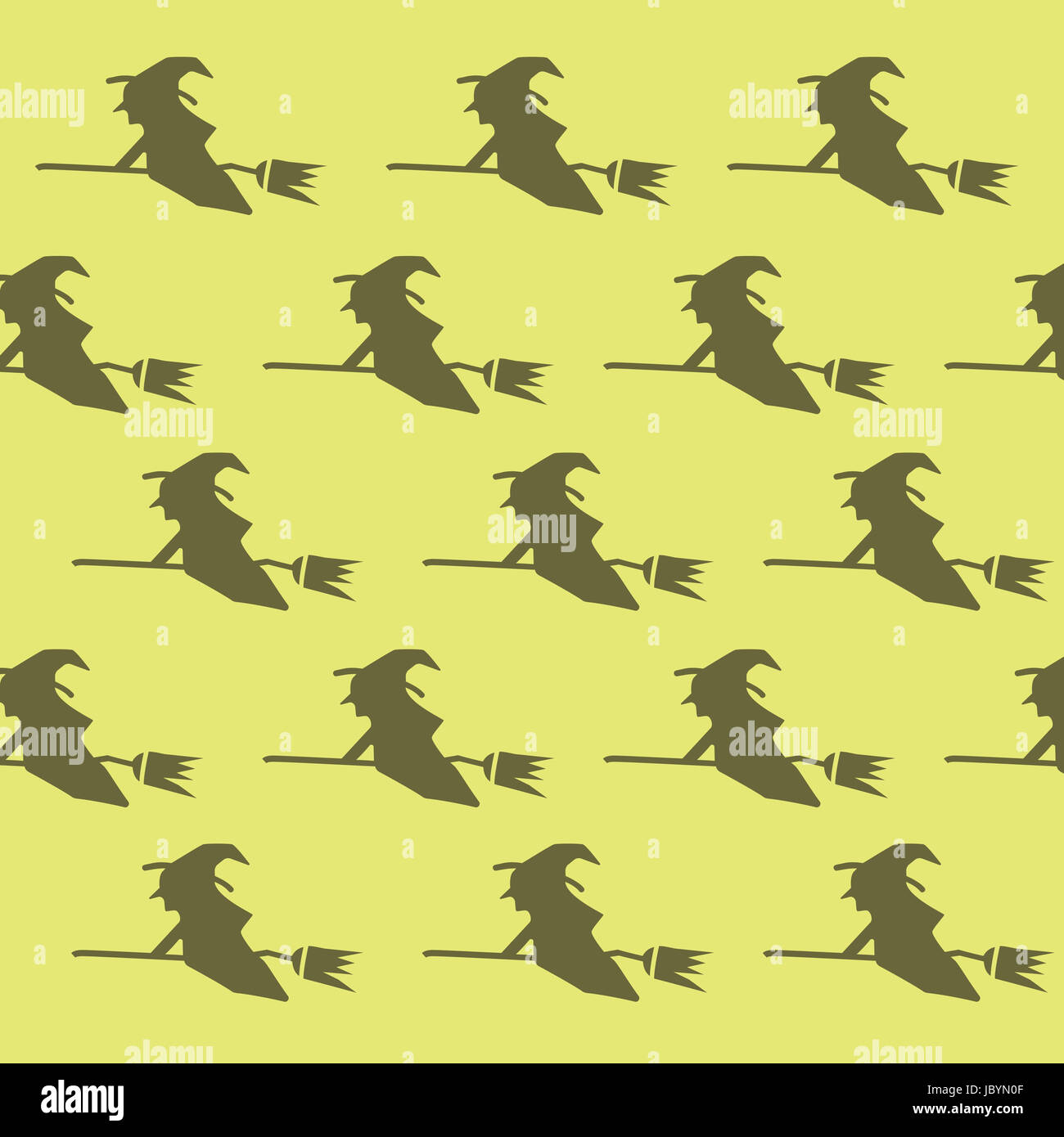 an illustration pattern of spooky flying witch halloween theme on plain background
