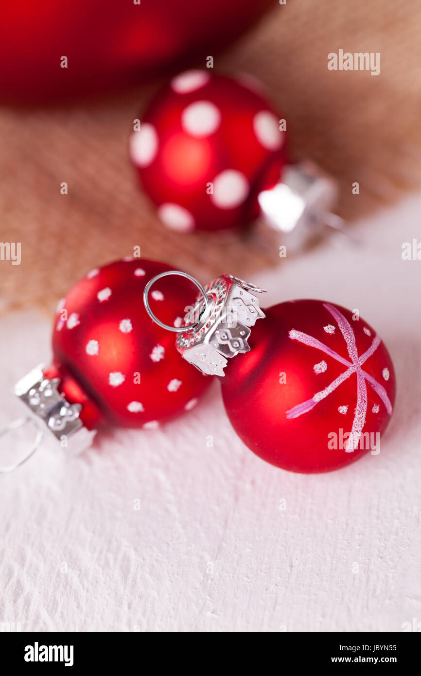 Große Rote Christbaumkugeln.Rote Christbaumkugeln Stock Photos Rote Christbaumkugeln Stock