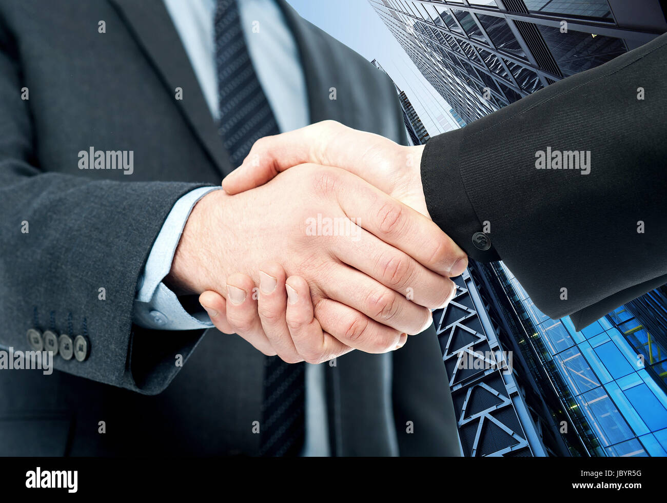 Business handshake, the deal Is finalized. Stock Photo