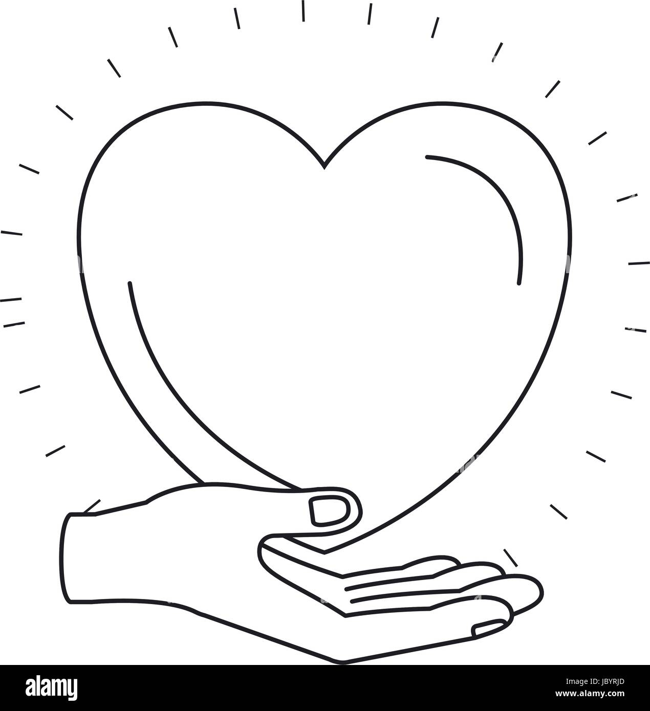 Silhouette Hand Palm Giving A Heart Charity Symbol Stock Vector Art