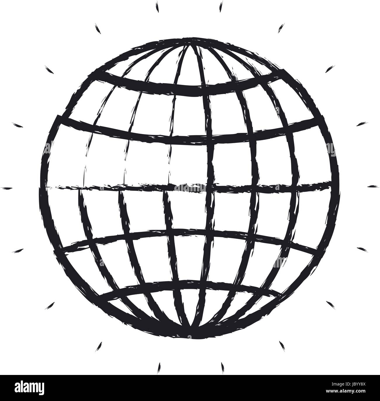 Blurred Silhouette Front View Globe Earth World Chart With Lines