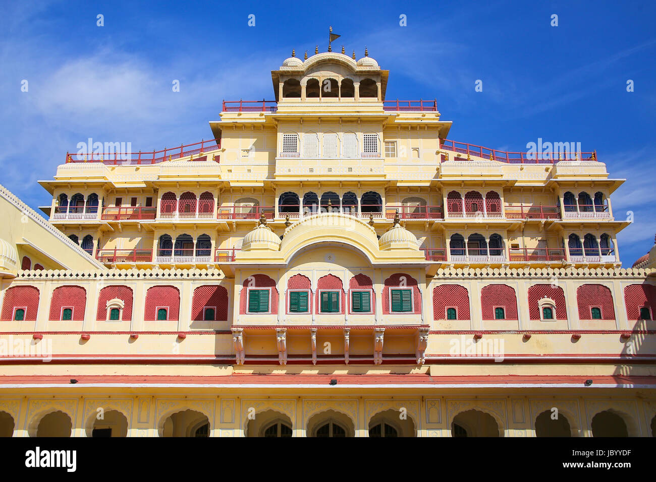 Chandra Mahal seen from Pitam Niwas Chowk, Jaipur City Palace, Rajasthan, India. Palace was the seat of the Maharaja Stock Photo