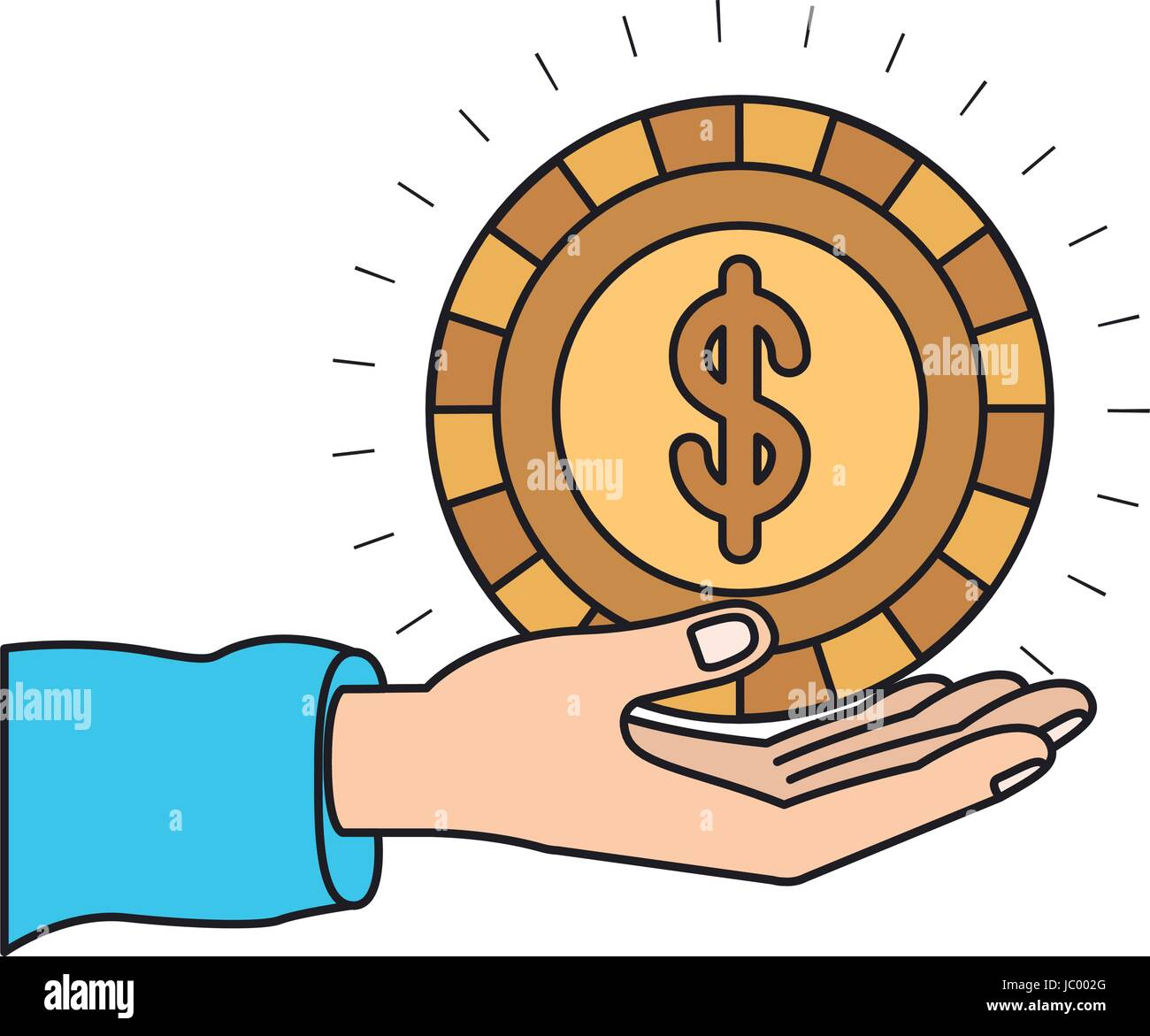 Colorful Silhouette Hand Palm Giving A Coin With Dollar Symbol Stock