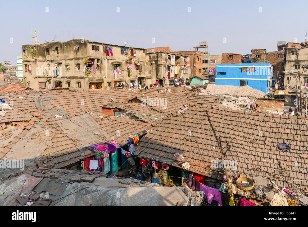 Aerial view across slum dwelling roofs in the suburb Park Circus - Stock Image