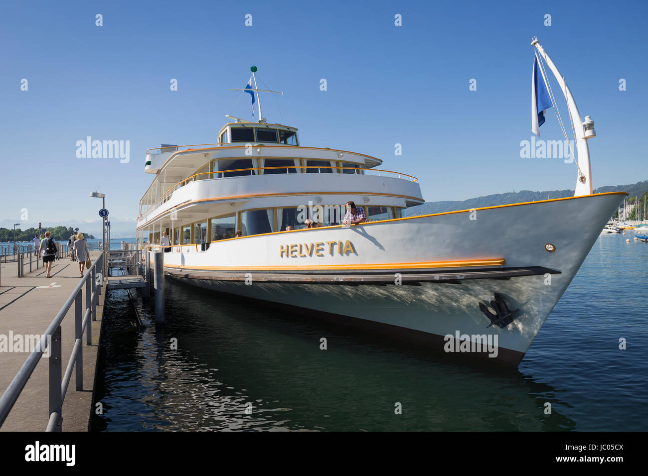 Motor ship Helvetia morred at the dock in Zurich, Switzerland. - Stock Image