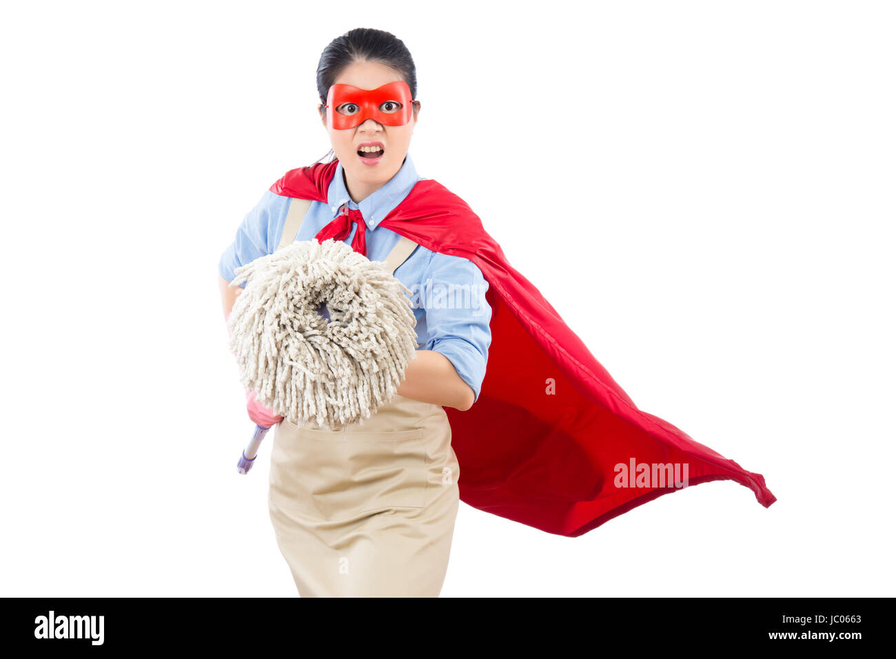 Angry Mad Clean Superhero Face To Camera And Holding Mop Ready To Fight  Doing The Cleaning Job. Isolated On White Background. Housework And  Household
