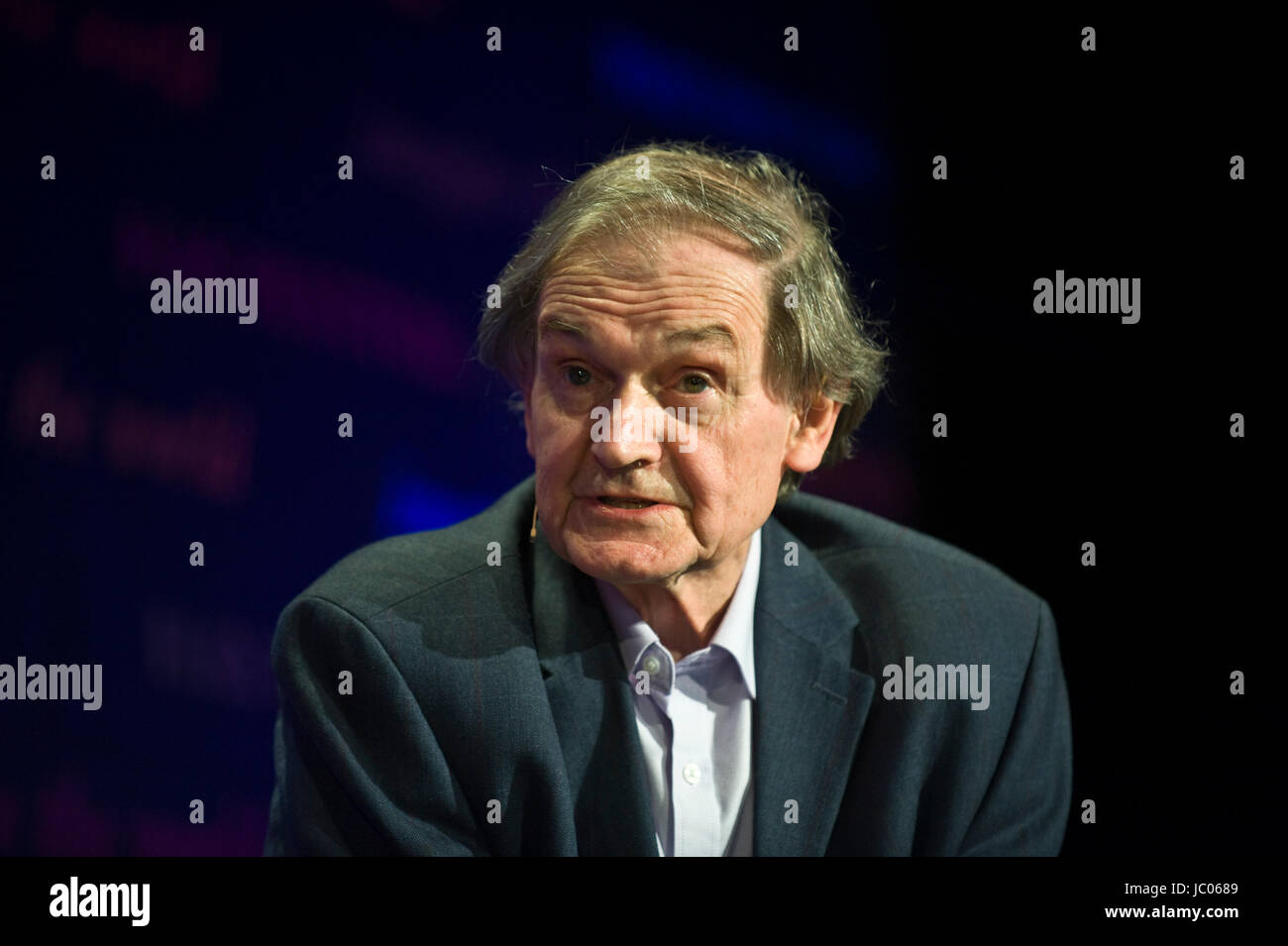 Roger Penrose theoretical physicist speaking on stage at Hay Festival of Literature and the Arts 2017 Hay-on-Wye Stock Photo