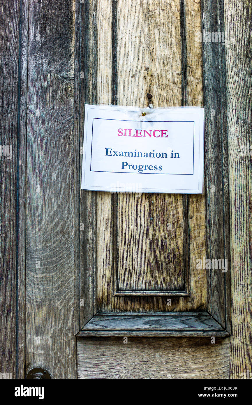 Notice asking for Silence during Exams, Downing College, part of the University of Cambridge, UK - Stock Image