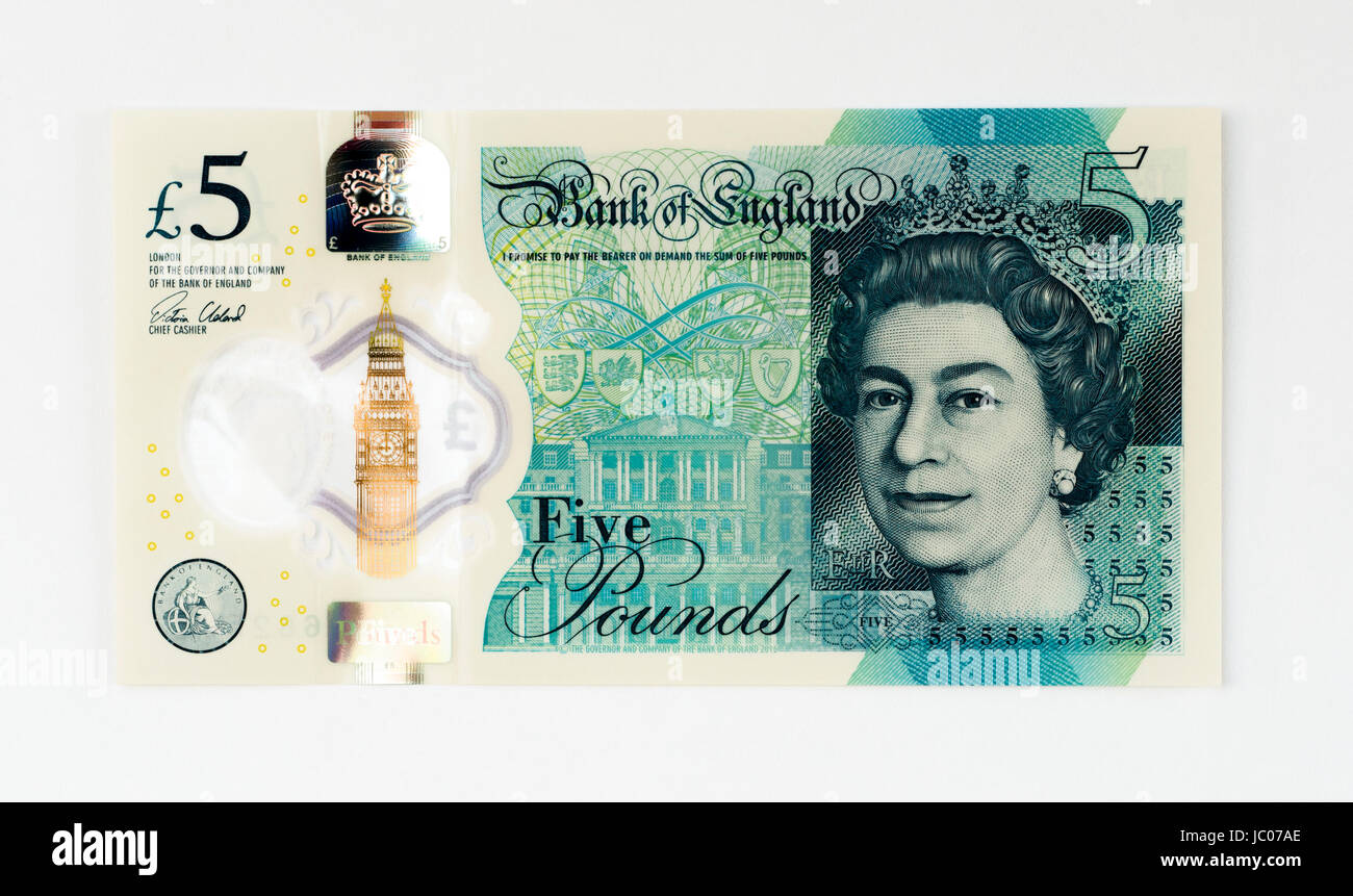 UK 5 pound note - Stock Image