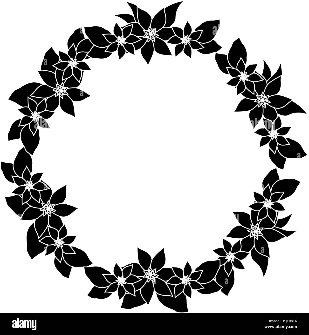 Round Flower Frame Black And White Stock Photos Images Alamy