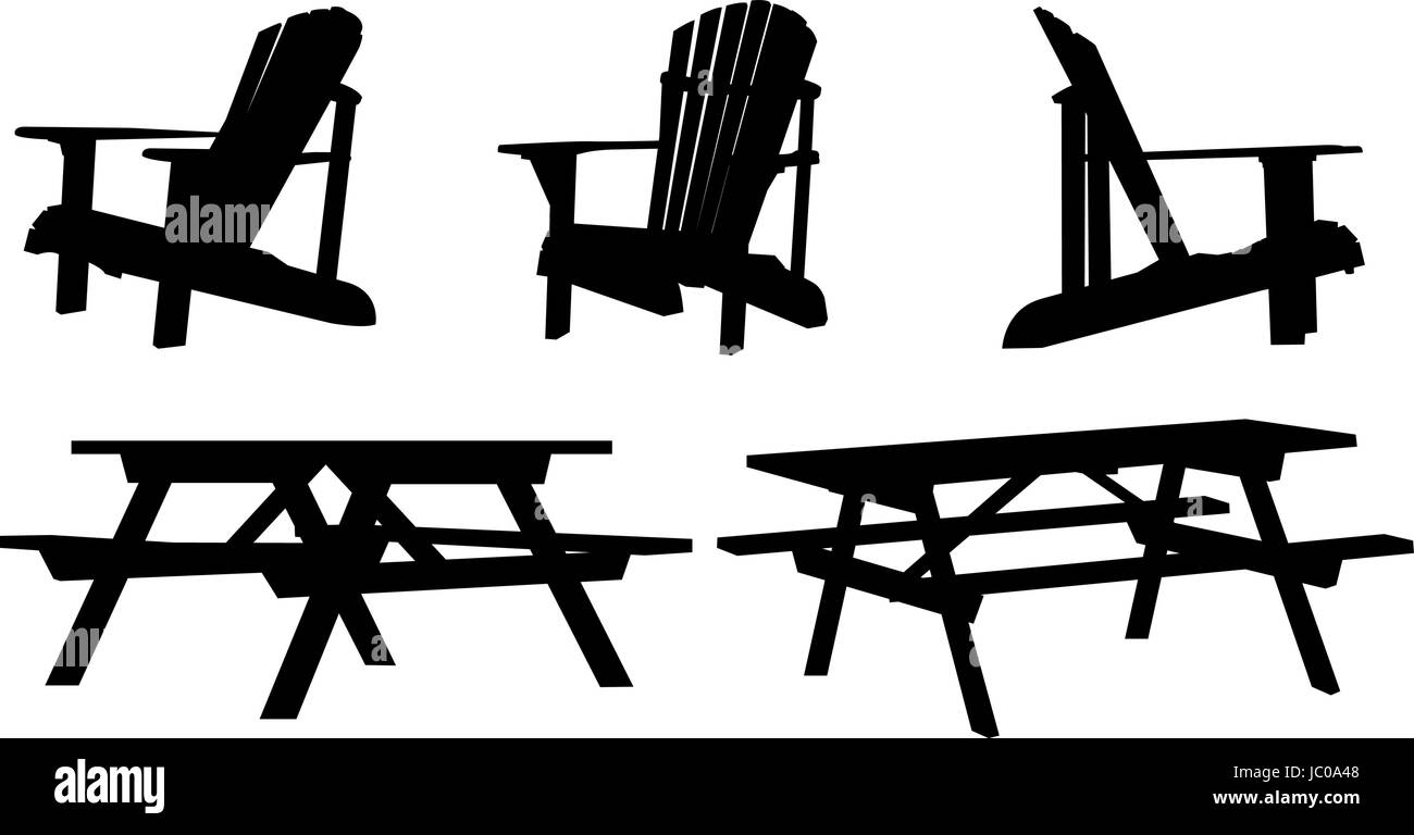 Silhouette set of outdoor picnic tables and chairs Stock ...
